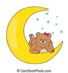 oso, acostado, luna
