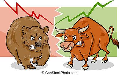 oso, caricatura, mercado, toro
