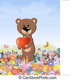 Oso con una tarjeta de San Valentín