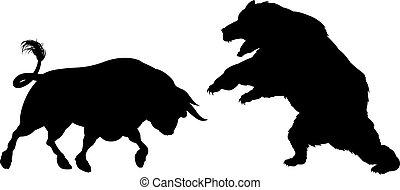 Oso contra silueta de toro