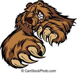 oso pardo, cuerpo, mascota, patas