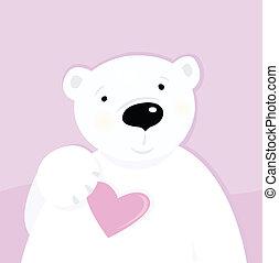Oso polar con corazón de amor