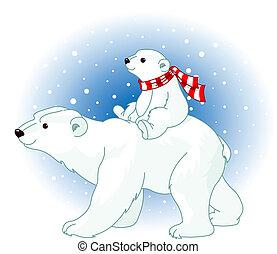Osos polares mamá y bebé