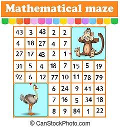 ostrich., juego, kids., rectángulo, caricatura, worksheet., page., children., adivinanza, matemático, labyrinth., characters., maze.monkey, educación, número, actividad