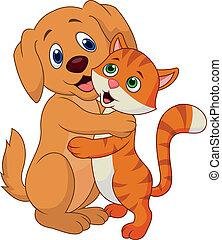 oth, lindo, se abrazar, perro, gato, cada