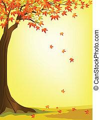 otoño, árbol, plano de fondo