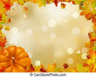 otoño, 8, calabazas, leaves., eps