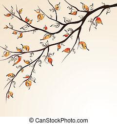 otoño, branch., árbol