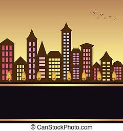 otoño, cityscape, ilustración