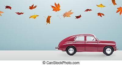 otoño, coche, minimalistic