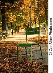 Otoño en París. La típica silla parisina en el Jardín Luxemburgo. París, Francia