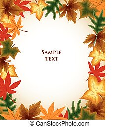 otoño, fondo., hojas, vector, marco