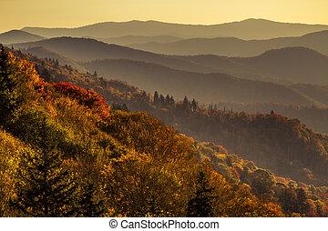 otoño, montañas, grande, ahumado, parque nacional