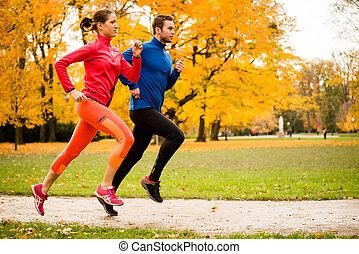 otoño, pareja, jogging, naturaleza