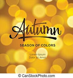 otoño, resumen, defocused, plano de fondo, oro