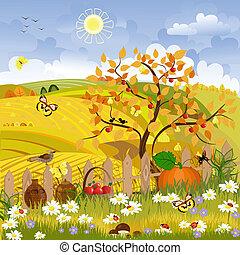 otoño, rural, paisaje árbol
