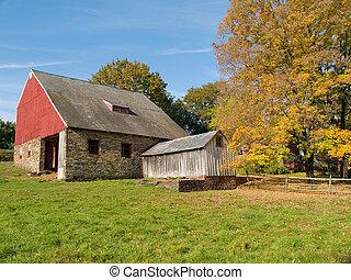 otoño, viejo, granero
