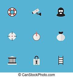 otro, vector, parrilla, icons., synonyms, cerrado, elementos, conjunto, lifebuoy, ladder., criminal, simple, lifesaver, ilustración