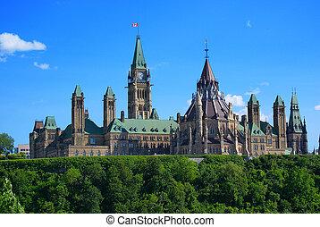 ottawa, -, colina del parlamento, canadá