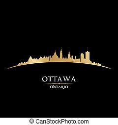 ottawa, fondo negro, contorno, ciudad, ontario, canadá, silueta