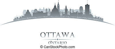 ottawa, plano de fondo, contorno, ciudad, ontario, canadá, silueta, blanco