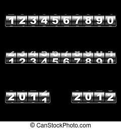 out-dated, plantilla, year., corregir, universal, mostrador, dos, numbers., –, vector, combinar, ejemplos, fácil, año, uso, cambiar, mecánico, 2011, cualesquiera, 2012