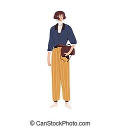 outfit., ilustración, acodado, tuck, rayado, vector, aislado, style., pants., llevando, plano, moderno, ropa, modelo, moda, calle, casual, coloreado, mujer, elegante, blanco, moderno, blusa, turtleneck