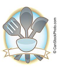 oval, utensilios, hornada, bandera, blanco