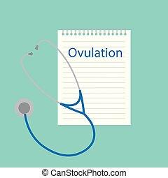 Ovulación escrita en el cuaderno