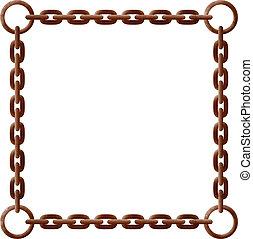oxidado, marco, cadena