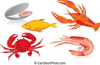 Oyster, camarones, cangrejo y pescado