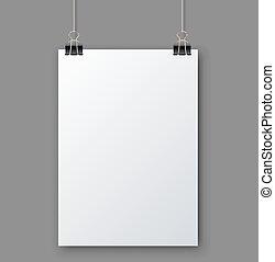 Página blanca en blanco colgada de la plantilla del vector gris.