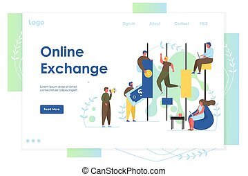 Página de aterrizaje de página web de vectores en línea