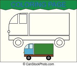 Página de color. Auto inmobiliario, transporte. Actividad para niños.