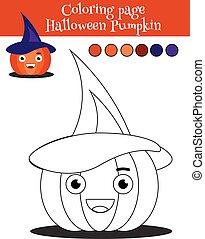 Página de color con calabaza de Halloween. Juego educativo, actividad de dibujar niños