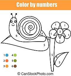 Página de color con carácter caracol. Color por números juegos de niños educativos, dibujar actividades de niños