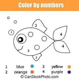 Página de color con carácter de pescado. Color por números juegos de niños educativos, dibujar actividades de niños