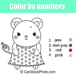 Página de color con carácter de ratón. Color por números juegos de niños educativos, dibujar actividades de niños