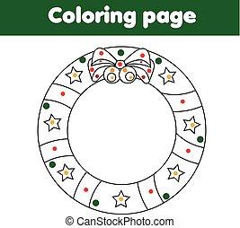 Página de color con corona de Navidad. Juego educativo, actividad de dibujar niños