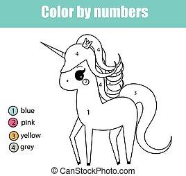 Página de color con el personaje de unicornio. Color por números juegos de niños educativos, dibujar actividades de niños