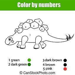 Página de color con estegosaurio dinosaurio. Color por números juegos de niños educativos, dibujar actividades de niños.