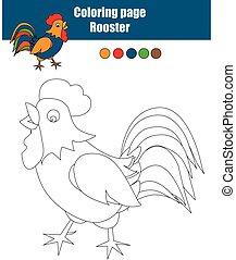 Página de color con gallo. Juego educativo, actividad de dibujar niños