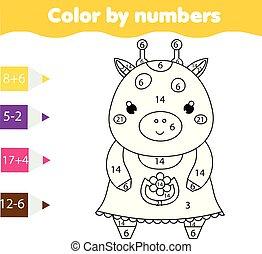 Página de color con jirafa linda color por actividad imprimible, juego de matemáticas para niños