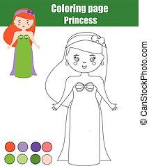 Página de color con la princesa. Juego educativo para niños, actividad de dibujos