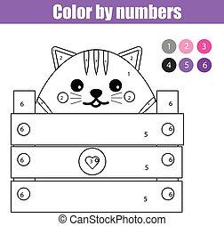 Página de color con lindo carácter de gato. Color por números juegos de niños educativos, dibujar actividades de niños.