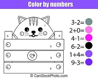 Página de color con lindo carácter de gato. Color por números juegos de niños educativos, dibujar actividades de niños. Juego de matemáticas