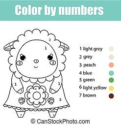 Página de color con lindo carácter de oveja. Color por números juegos de niños educativos, dibujar actividades de niños
