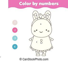 Página de color con lindo personaje de conejito. Color por números de actividad imprimible