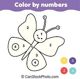 Página de color con mariposa. Color por números de actividad imprimible