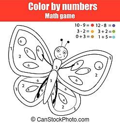 Página de color con mariposa. Color por números juegos de niños educativos, dibujar actividades de niños